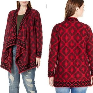 Lucky Brand Red Multi Aztec Wrap Sweater Sz 2X